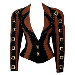 Vintage CHRISTIAN LACROIX Studs and Jeweled Buttons Contrast Jacket
