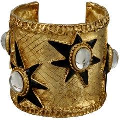 Vintage CHRISTIAN LACROIX Textured Black Enamel Star Cabochon Cuff Bracelet