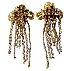 Vintage CHRISTIAN LACROIX Textured Cross Cascading Chain Rhinestone Earrings