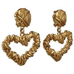 Vintage CHRISTIAN LACROIX Textured Heart Dangling Earrings