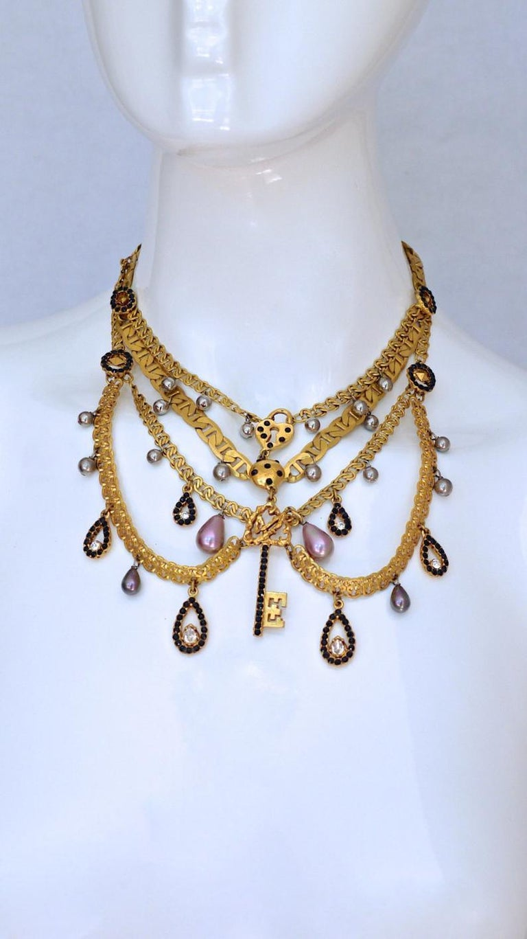 Vintage CHRISTIAN LACROIX Tiered Multi Charm Collar Necklace In Excellent Condition For Sale In Kingersheim, Alsace
