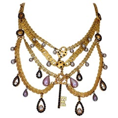 Vintage CHRISTIAN LACROIX Tiered Multi Charm Collar Necklace