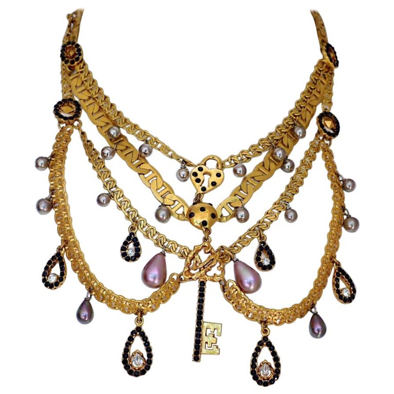 Vintage CHRISTIAN LACROIX Tiered Multi Charm Collar Necklace For Sale