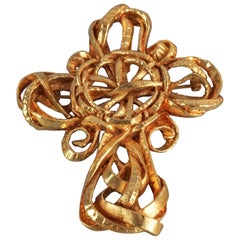 Vintage CHRISTIAN LACROIX Torsade Cross Pendant Brooch