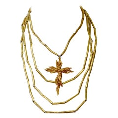 Vintage Christian Lacroix Tube Layered Cross Necklace