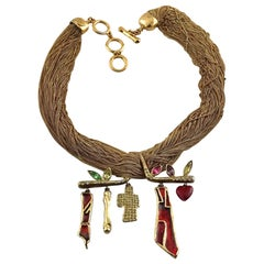 Vintage CHRISTIAN LACROIX Whimsical Charm Hanger Multi Chain Necklace