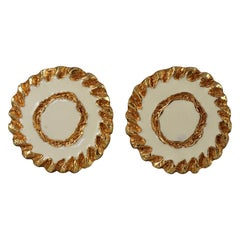 Vintage CHRISTIAN LACROIX White Enamel Disc Earrings