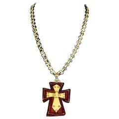 Vintage CHRISTIAN LACROIX Wood Resin Maltese Cross Necklace