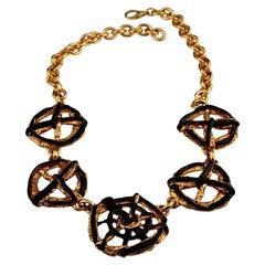 Vintage CHRISTIAN LACROIX Woven Web Enamel Charm Necklace
