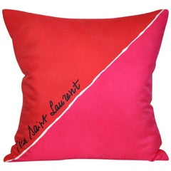 Vintage Christmas Red Pink YSL Scarf Cushion with Irish Linen Pillow