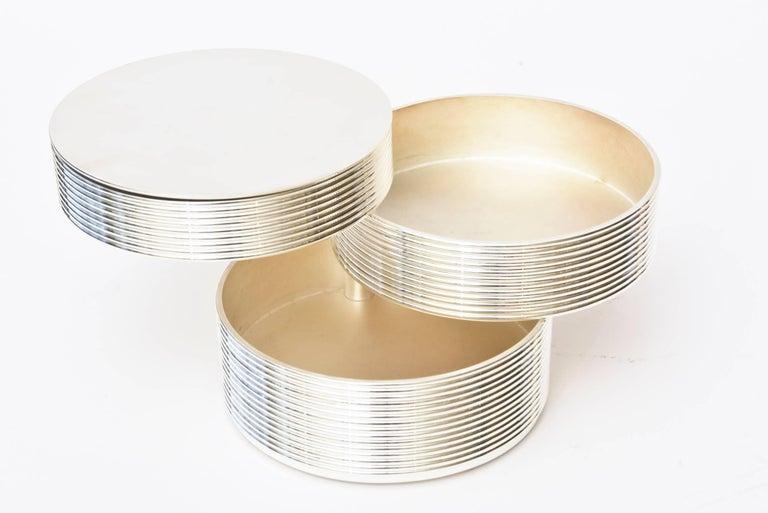 Mid-20th Century Christofle Cantileverd Silver Plate Sculptural Box Vintage Desk Accessory For Sale