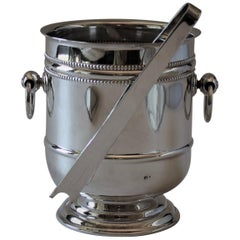 """Vintage Christofle France Silver Plated """"Perle"""" Ice Bucket with Tongs"""