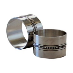 "Vintage Christofle France Silver Plated ""Perle"" Pair of Napkin Rings"