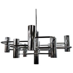 Vintage Chrome 9 Lightpoint Chandelier by Gaetano Sciolari, 1970