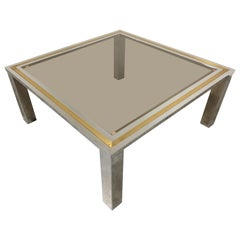 Vintage Chrome and Brass Coffee Table, 1970s