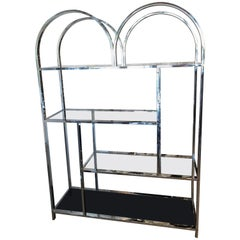 Vintage Chrome and Brass Etagere Arched Glass Display Shelf Shelves
