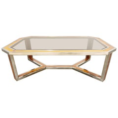 Vintage Chrome and Burl Wood Coffee Table, 1970s