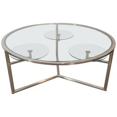 Vintage Chrome and Glass Cocktail Table with Swivels
