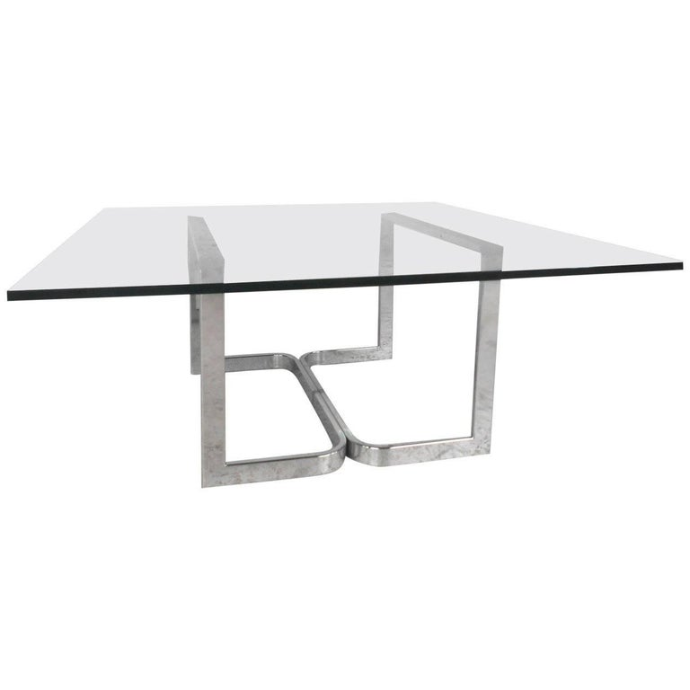 Vintage Modern Chrome and Glass Coffee Table For Sale