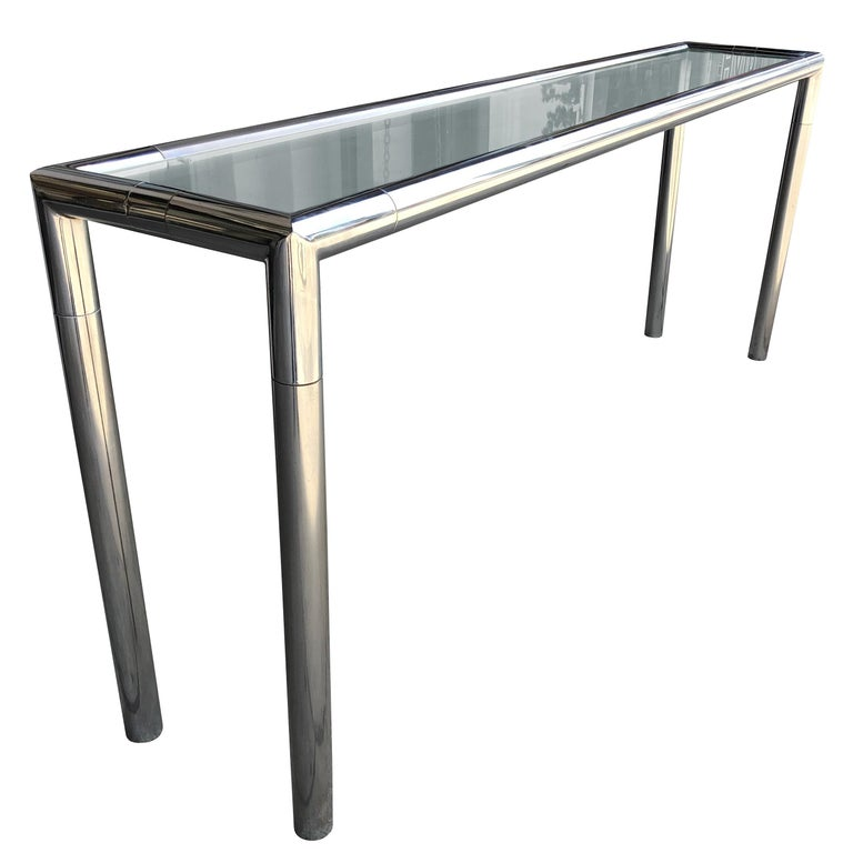 Awesome Vintage Chrome And Glass Console Table Pabps2019 Chair Design Images Pabps2019Com