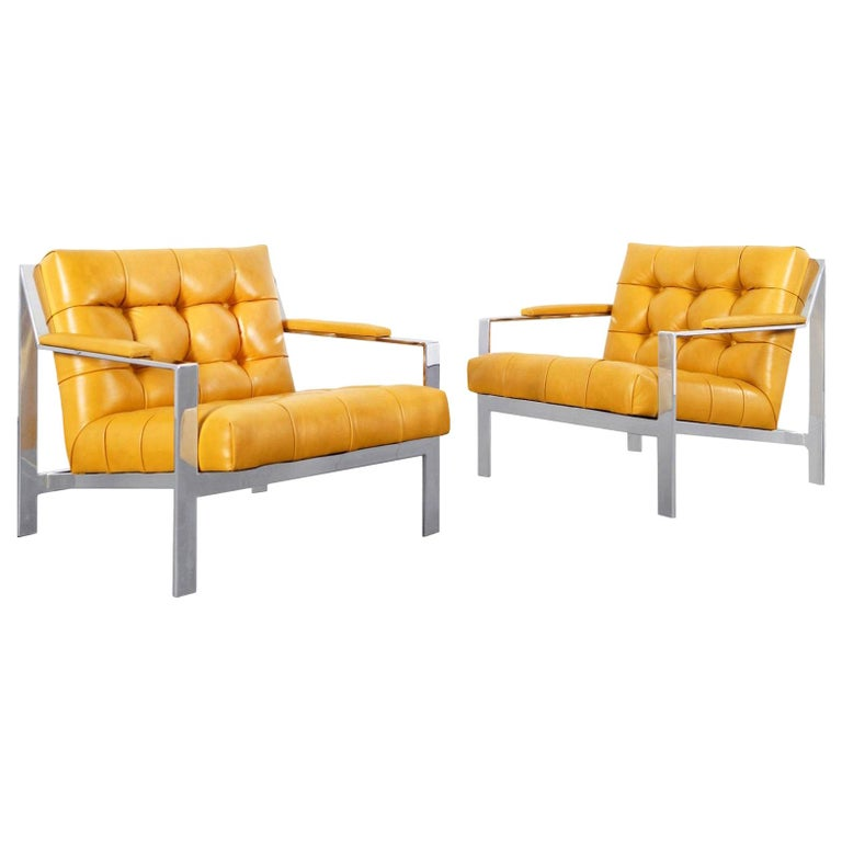 Vintage Chrome and Leather Biscuit Tufted Lounge Chairs by Cy Mann For Sale