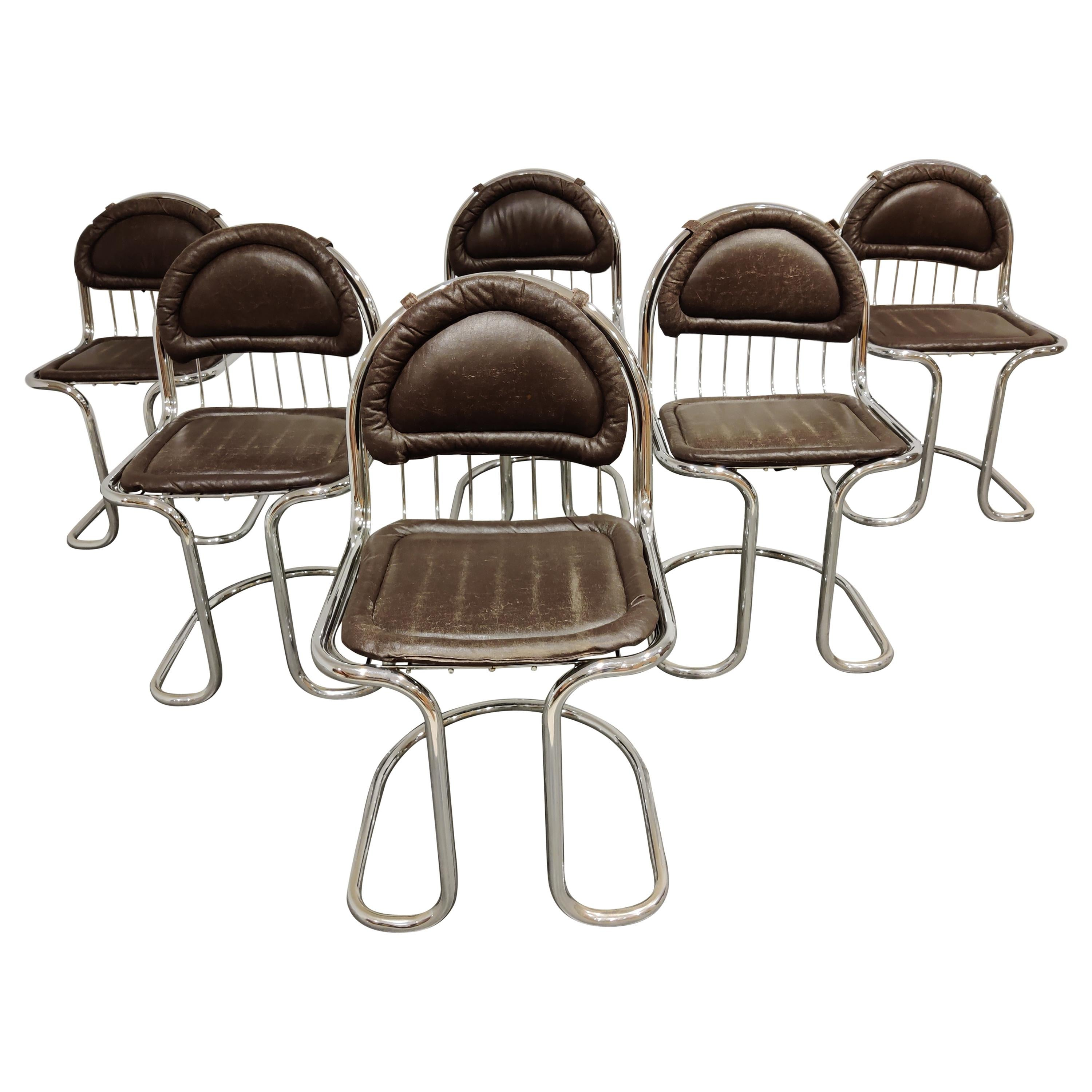 Vintage Chrome and Leather Cantilever Dining Chairs, 1970s