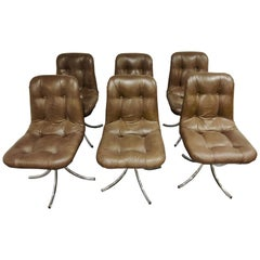 Vintage Chrome and Leather Swivel Dining Chairs, 1970s