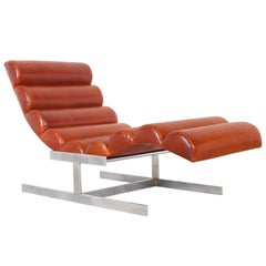 "Vintage Chrome and Leather ""Wave"" Chaise Lounge Attributed to Milo Baughman"