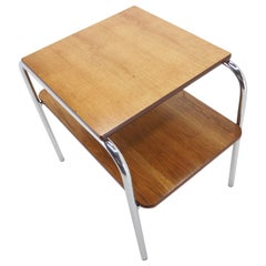 Vintage Chrome and Wood Table