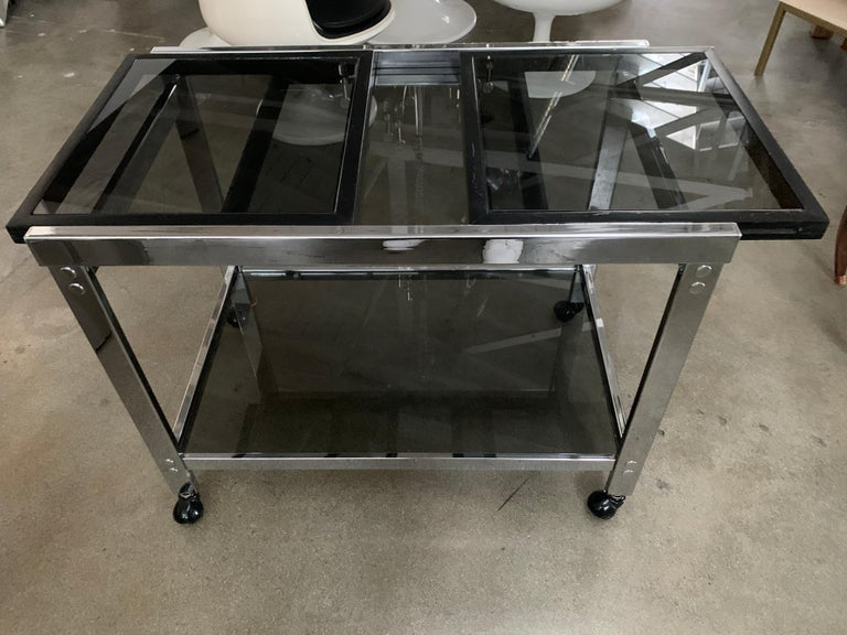 Vintage Chrome Bar Cart with Smoked Glass For Sale 7