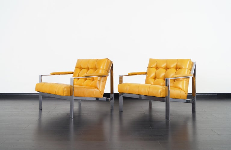 Mid-Century Modern Vintage Chrome and Leather Biscuit Tufted Lounge Chairs by Cy Mann For Sale