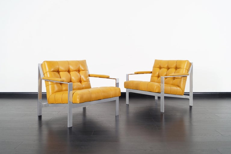 American Vintage Chrome and Leather Biscuit Tufted Lounge Chairs by Cy Mann For Sale