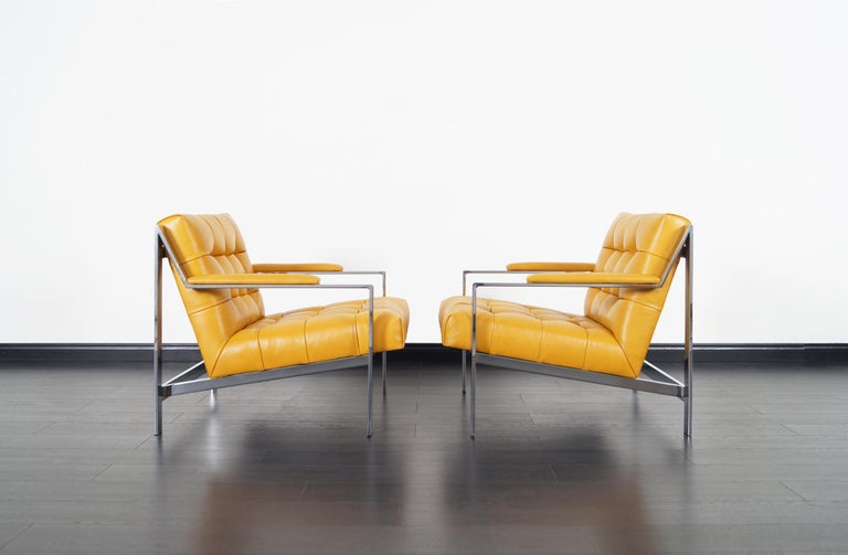 Late 20th Century Vintage Chrome and Leather Biscuit Tufted Lounge Chairs by Cy Mann For Sale