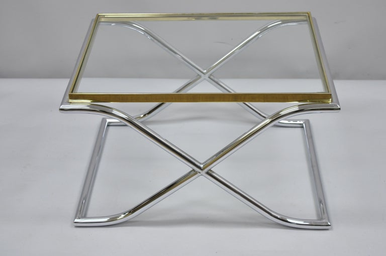 Brilliant Vintage Chrome Brass And Glass Hollywood Regency X Frame Small Coffee Side Table Evergreenethics Interior Chair Design Evergreenethicsorg
