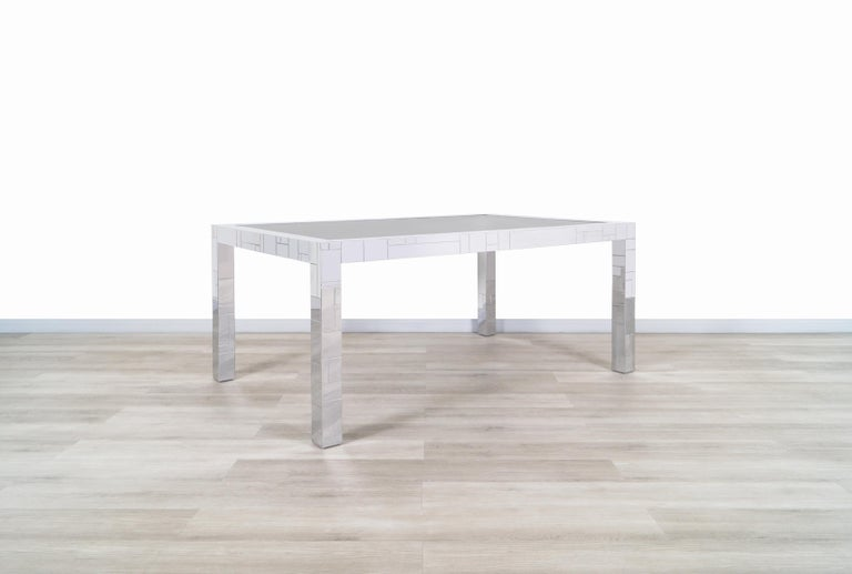 """Exceptional vintage """"Cityscape"""" dining table designed by Paul Evans for Directional in the United States, circa 1970s. This dining table belongs to one of the most coveted lines of designer Paul Evans, who took inspiration from the Manhattan skyline"""