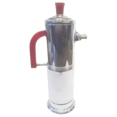 Vintage Chrome Cocktail Shaker with Cherry Red Bakelite Handle and Knob