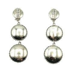 Vintage Chrome & Crystal Button Drop Earrings 1970s