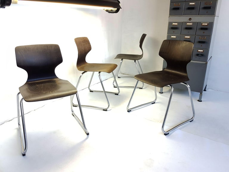Vintage Chrome Dinning Chairs by Adam Stegner for Flötotto, 1960s, Set of Four For Sale 1
