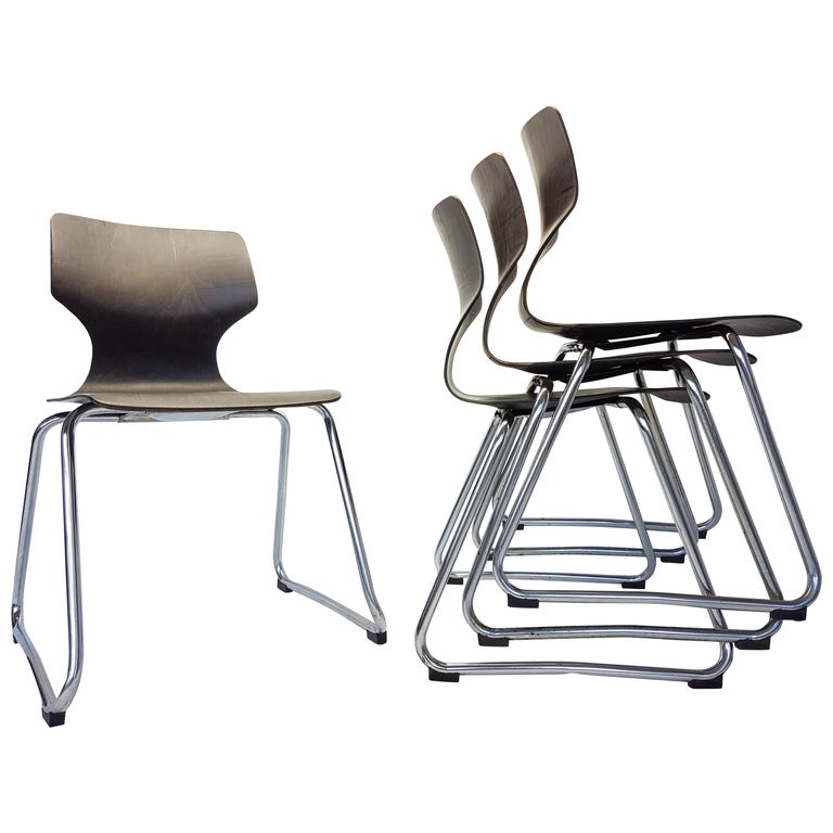 Vintage Chrome Dinning Chairs by Adam Stegner for Flötotto, 1960s, Set of Four For Sale