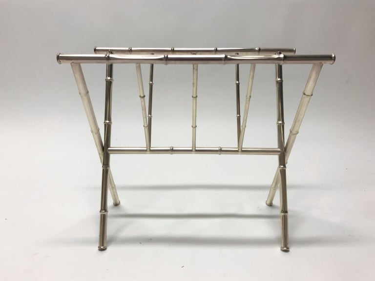 Midcentury Hollywood Regency faux bamboo magazine holder in chrome.  Good condition, slight patina adding to the authentic look.  Beautiful timeless piece.  France, 1970s.  Dimensions: Height 42cm/16'5