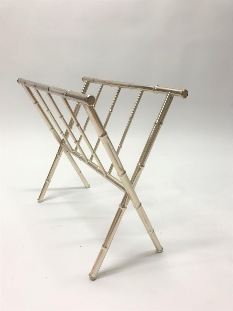French Vintage Chrome Faux Bamboo Magazine Rack, 1970s For Sale