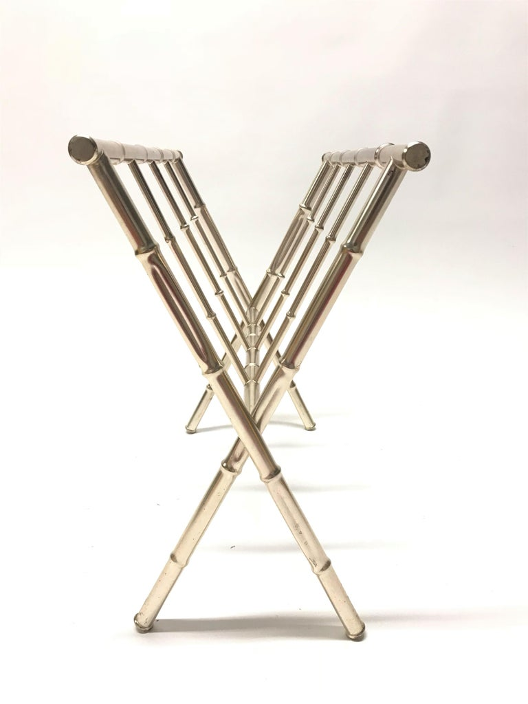 Vintage Chrome Faux Bamboo Magazine Rack, 1970s In Good Condition For Sale In Sint Joris Weert, BE
