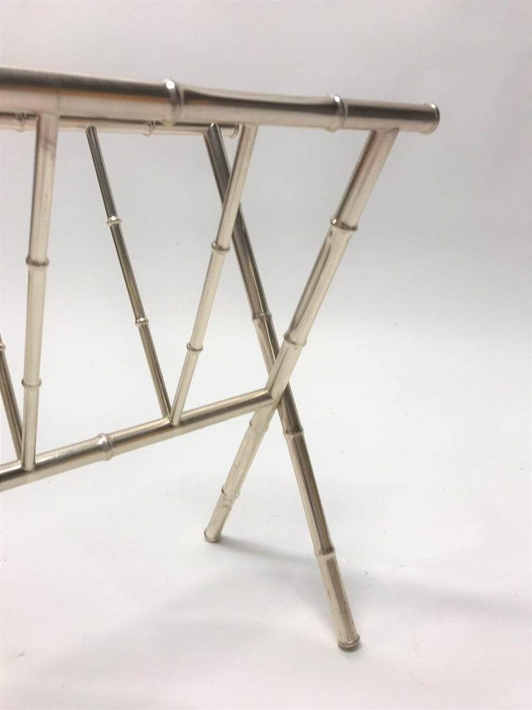 Vintage Chrome Faux Bamboo Magazine Rack, 1970s For Sale 2