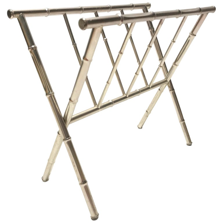 Vintage Chrome Faux Bamboo Magazine Rack, 1970s For Sale