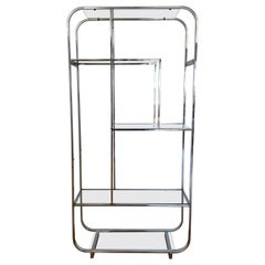 Vintage Chrome & Glass Shelf in the Style of Milo Baughman, C.1970
