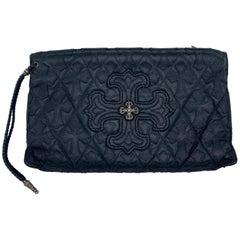 Vintage Chrome Hearts Black Leather and Sterling Silver Clutch Handbag