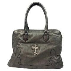 Vintage Chrome Hearts Grey Leather Sterling Silver Tote Handbag