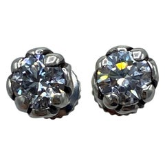 Vintage Chrome Hearts White Gold And Diamond Stud Earrings