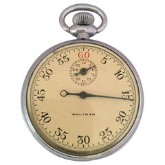 Vintage Chrome Mechanical Waltham WWII Military Issue Stop Watch
