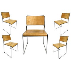 Vintage Chrome-Plated Plywood Chairs, Stackable, 1970s